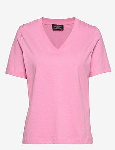 SLFSTANDARD SS V-NECK TEE SEASONAL - t-shirts basiques - rosebloom
