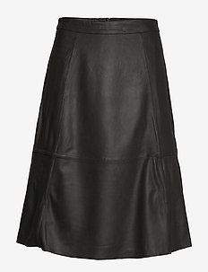 SLFMARLA HW MIDI LEATHER SKIRT B - BLACK