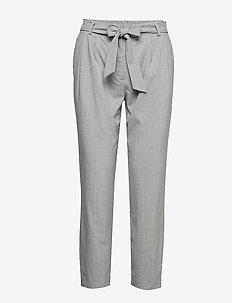 SLFBIO BIGA MW CROPPED PANT B - rette bukser - light grey melange