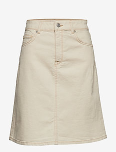 SLFFREJA HW WESTERN WHITE DENIM SKIRT W - jupes en jeans - white denim