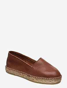 SLFMARIE LEATHER ESPADRILLES B - COGNAC