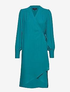 SLFALVA LS WRAP DRESS EX - wrap dresses - teal green