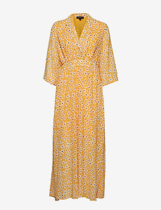 SLFFLEURA CECILIE LS AOP ANKLE DRESS B - radiant yellow