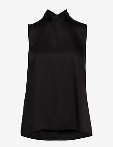 SLFQUINCY SL NECK TIE TOP B - BLACK