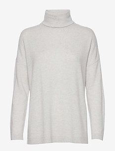 SLFEYA CASHMERE LS KNIT ROLLNECK B - LIGHT GREY MELANGE