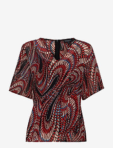 SLFMAXINA 2/4 TOP KA - blouses à manches courtes - flame scarlet