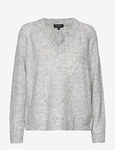 SLFLANNA LS KNIT V-NECK NOOS - pulls - light grey melange
