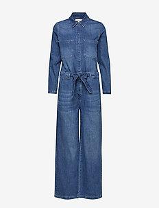 SLFVICTORIA DENIM JUMPSUIT W - jumpsuits - dark blue denim