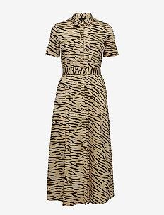 SLFDINA SS CALF SHIRT DRESS EX - shirt dresses - pale khaki
