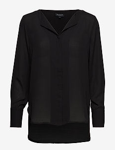SLFSTINA-DYNELLA LS SHIRT NOOS - long sleeved blouses - black