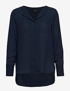 SLFSTINA-DYNELLA LS SHIRT NOOS - long sleeved blouses - dark sapphire