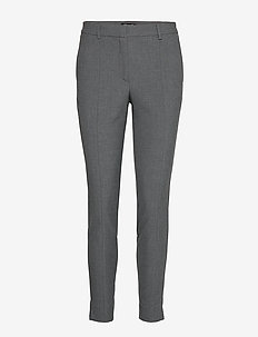 SLFMUSE FIE CROPPED MW PANT MGM B NOOS - straight leg trousers - medium grey melange