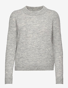 SLFSIA LS KNIT O-NECK NOOS - LIGHT GREY MELANGE