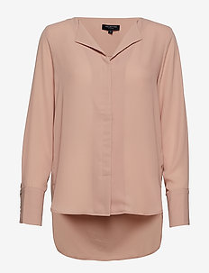 SLFSTINA-DYNELLA LS SHIRT B - long sleeved blouses - mahogany rose