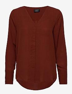 SLFSTINA-DYNELLA LS SHIRT B - long sleeved blouses - smoked paprika