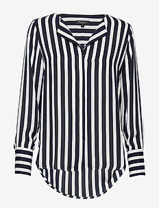 SLFSTINA-DYNELLA LS AOP SHIRT B - long sleeved blouses - dark sapphire