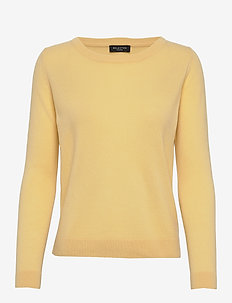 SLFAYA LS KNIT CASHMERE O-NECK B - almond oil