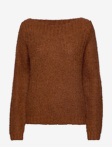 SLFHEMA LS KNIT  BOATNECK B - GINGER BREAD