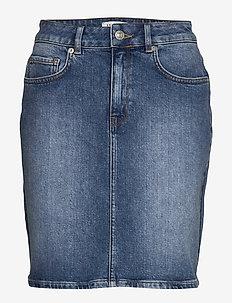 SLFKENNA MW MID BLUE DENIM SKIRT NOOS - denim skirts - medium blue denim