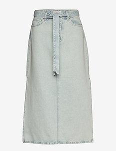 SLFALMA HW LONG DENIM ICE BLUE SKIRT W - jeanskjolar - light blue denim