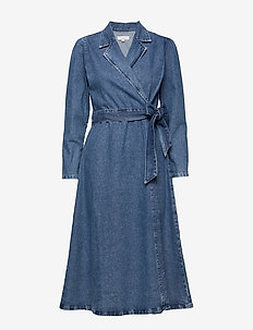 SLFHARPER LS FRAY BLUE DENIM DRESS W - wrap dresses - medium blue denim
