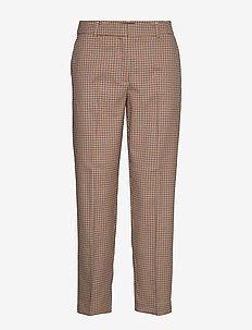 SLFEMILO LEA MW CROPPED PANT CHECK B - bukser med lige ben - cornstalk