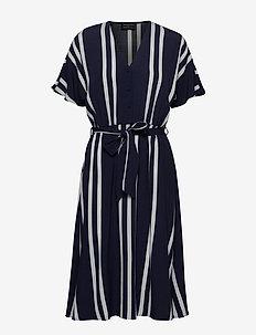 SLFVIENNA SS AOP SHORT DRESS B - midi dresses - dark sapphire