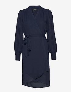 SLFALVA LS WRAP DRESS NOOS - wrap dresses - dark sapphire