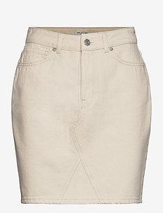 SLFHELENA MW JADE WHITE DENIM SKIRT W - jupes en jeans - white denim