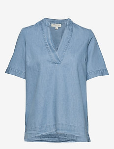 SLFJOY SS TOP  W - blouses med korte mouwen - light blue