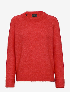 SLFLANNA LS KNIT O-NECK B - pulls - poppy red
