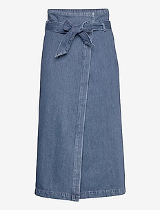 SLFDEMINA HW INKY BLUE DENIM SKIRT W - jupes en jeans - dark blue denim