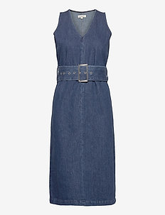 SLFDEMINA SL INKY BLUE DENIM DRESS W - DARK BLUE DENIM