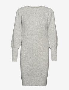 SLFTINE LS KNIT O-NECK DRESS B - LIGHT GREY MELANGE