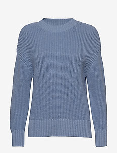 SLFBAILEY LS KNIT SLIT O-NECK NOOS - jumpers - della robbia blue