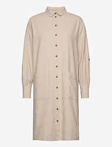 SLFMALVINA-TONIA LS SHIRT DRESS B - shirt dresses - sandshell