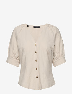 SLFMALVINA 2/4 SHIRT B - short-sleeved blouses - sandshell