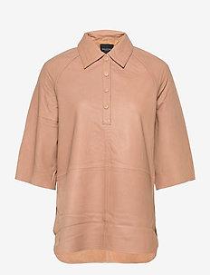 SLFANNABELLA 3/4 LEATHER SHIRT - overhemden met korte mouwen - tuffet