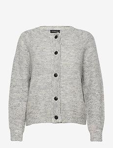 SLFLULU LS KNIT SHORT CARDIGAN - cardigans - light grey melange