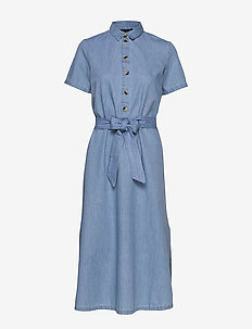 SLFTESS SS MIDI DRESS RT - skjortklänningar - light blue
