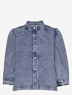 SLFSMILLA 3/4 MID BLUE DENIM SHIRT EX - denim shirts - medium blue denim