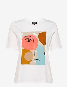 SLFABSTRACT FACE TEE B - short-sleeved shirts - bright white