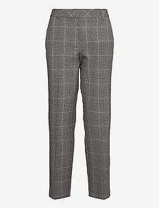 SLFEMILO MW CROPPED PANT MGM CHECK B - straight leg trousers - medium grey melange