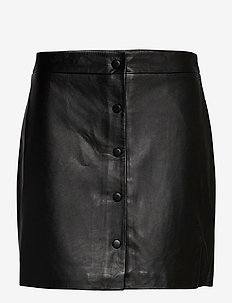 SLFALLY MW LEATHER SKIRT B - jupes courtes - black