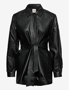 SLFLILI LS LONG LEATHER SHIRT JACKET W - overskjorter - black