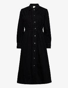 SLFALLY LS MIDI BLACK DENIM DRESS W - shirt dresses - black denim