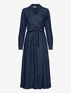 SLFMIRANDA LS LONG DRESS W - shirt dresses - medium blue denim