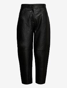 SLFAGNES MW CROPPED LEATHER PANT B - spodnie skórzane - black