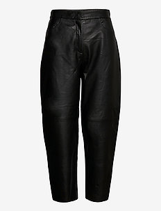 SLFAGNES MW CROPPED LEATHER PANT B - leren broeken - black