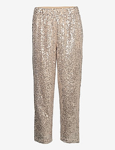 SLFLUCILLE MW ANKLE SEQUINS PANT B - casual housut - silver